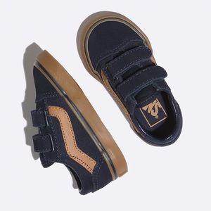 VANS Old Skool V Toddler Sneaker in Navy/Gum